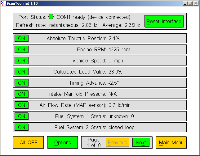 Scantool  sensor data.